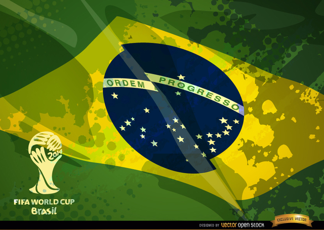 Free Brazil grunge flag football cup logo