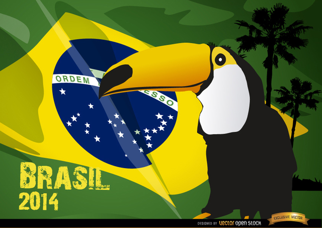 Free Toucan and Brasil flag 2014