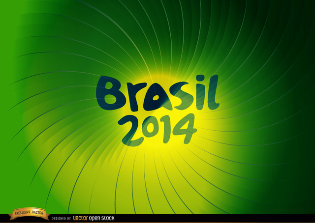 Free Brasil 2014 Green whirl background