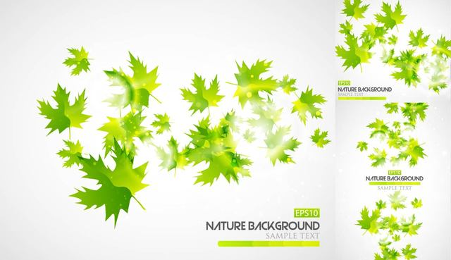 Free Abstract Green Autumn Leaves Background