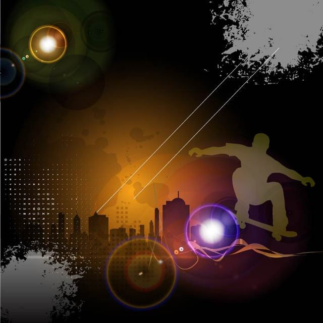 Free Glowing Urban Night Skateboard Background