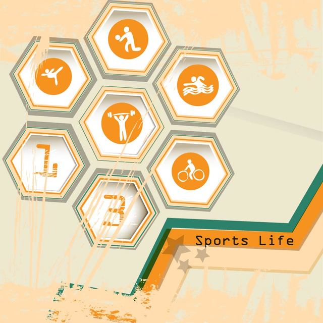 Free Hexagon Sports Life Icon with Grungy Stain