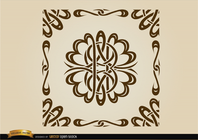 Free Curved lines ornamental borders