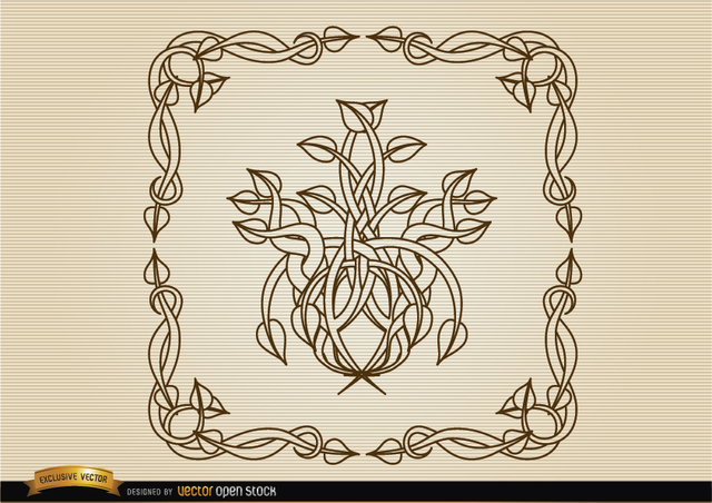 Free Coiled stems decoration frame