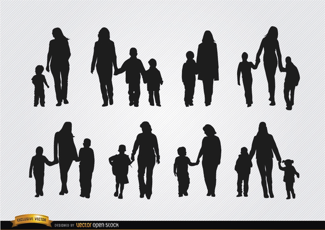 Free Mothers walking with sons silhouettes
