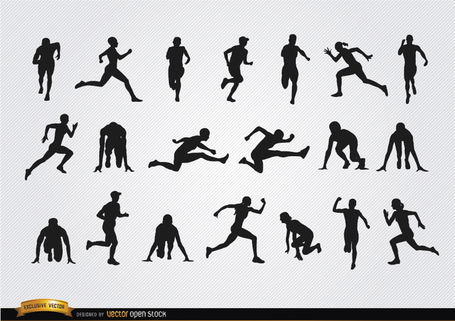 Free Athletes silhouettes set