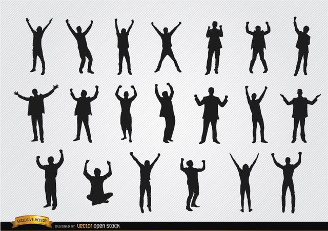 Free Men celebrating success silhouettes