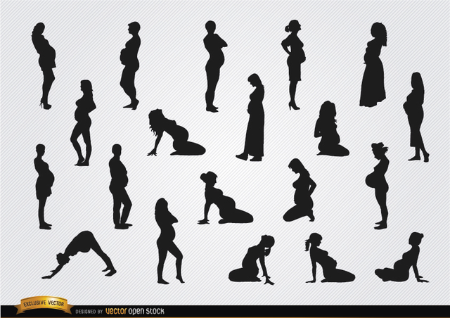 Free Vectors: Pregnant woman silhouettes | Vector Open Stock