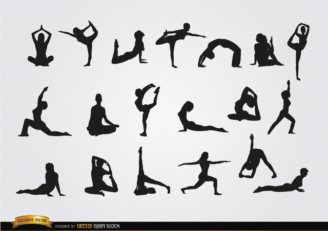 Free Women doing Yoga silhouettes