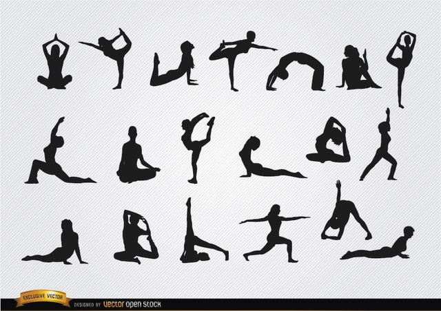 Free Vectors: Women doing Yoga silhouettes   Vector Open Stock