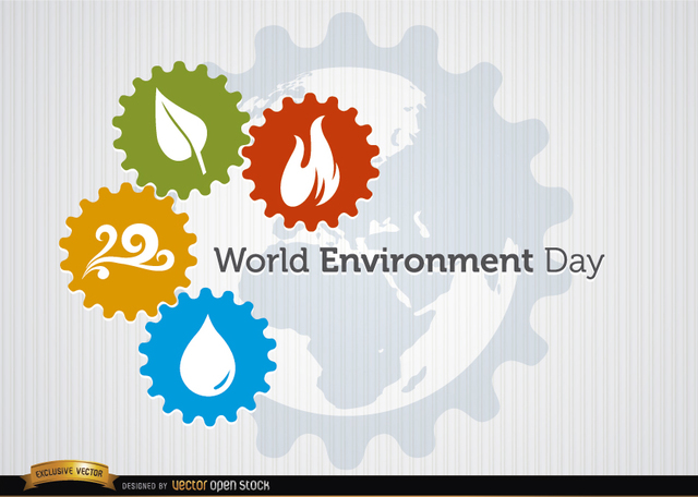 Free Four elements gears world environment day