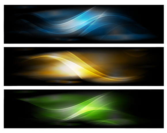 Free Vectors: 3 Fantasy Banners with Glossy Waving Curves | Background Vector