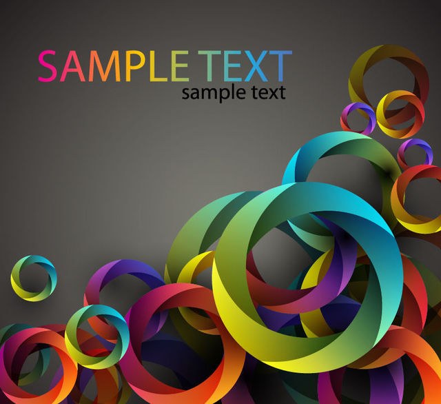 Free Abstract Cubic Circles Colorful Background