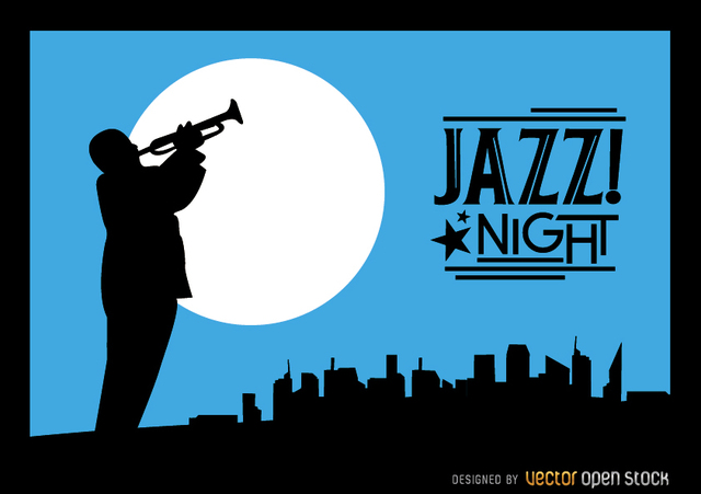 Free Vectors: Jazz trumpeter silhouette city night skyline | Vector Open Stock