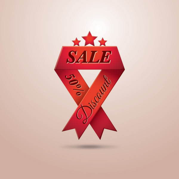 Free Triangle Folds Red Sales Ribbon