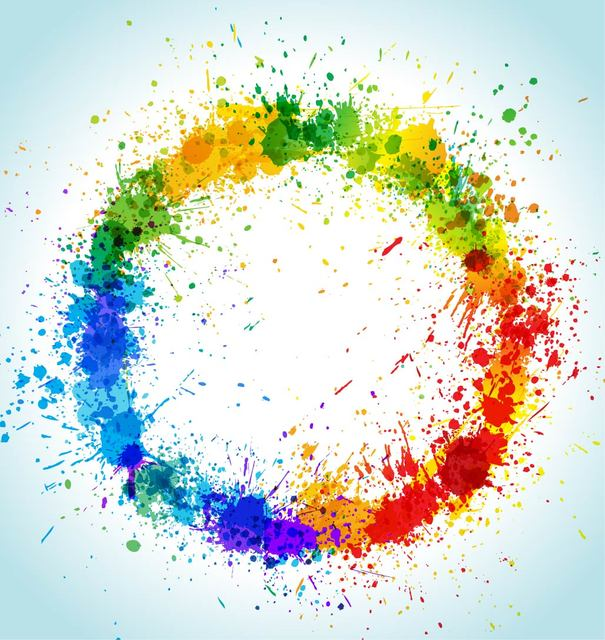 Free Colorful Grungy Circular Paint Splashes