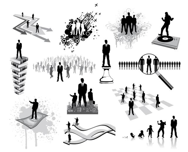 Free Silhouette Business and Career Oriented People Set