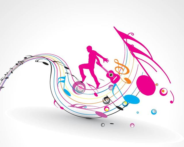 Free Silhouette Guitarist with Colorful Musical Notes