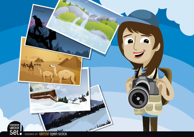 Free Vectors: Photojournalist with pictures around the world | Vector Open Stock