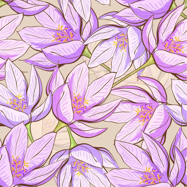 Free Retro Spring Floral Seamless Pattern