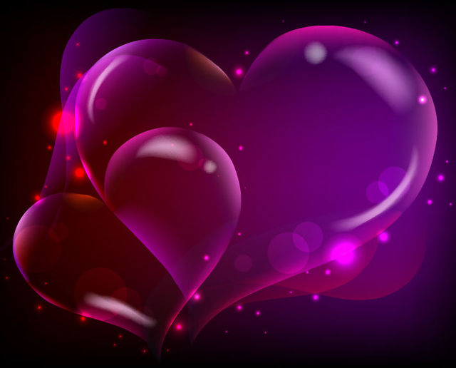 Free Fluorescent Darkish Heart Background with Sparkles