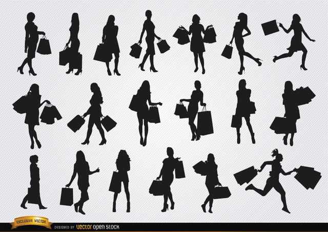 Free Girls with shopping bags silhouettes