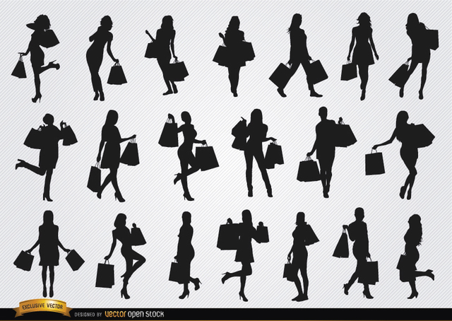 Free Women shopping silhouettes