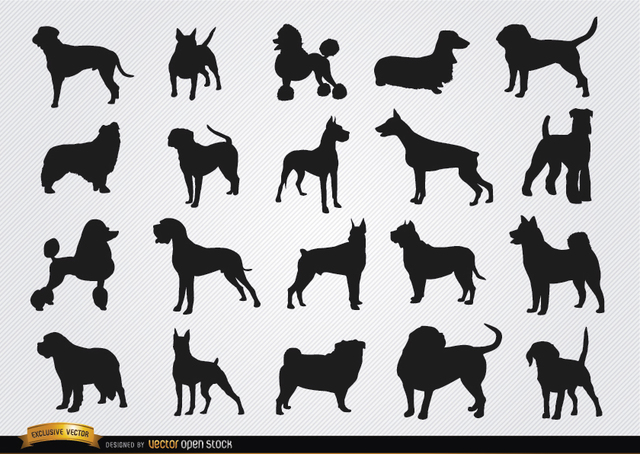 Free Dog breeds silhouettes