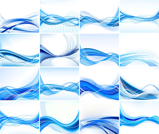 Free Stylish Blue Abstract Background Set with Lines