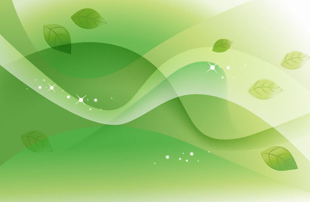 Free Abstract Green Leaves and Waves Background
