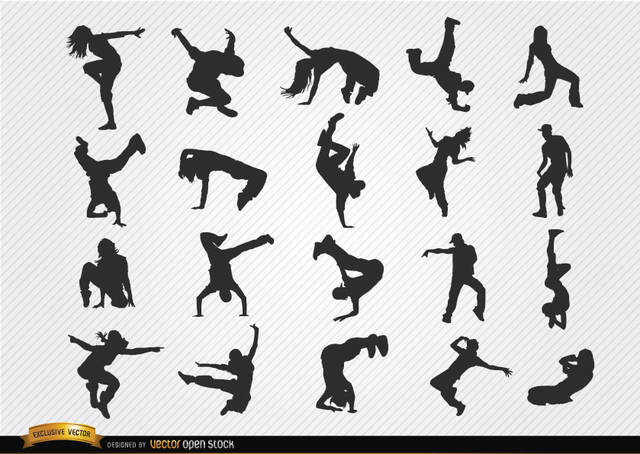Free Break dance silhouettes
