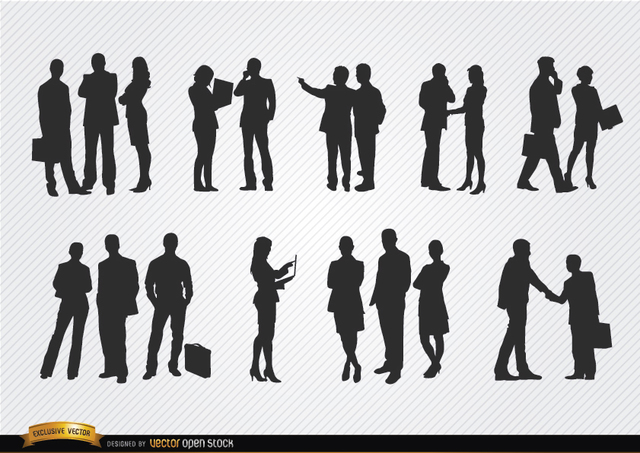 Free Business people meeting silhouettes