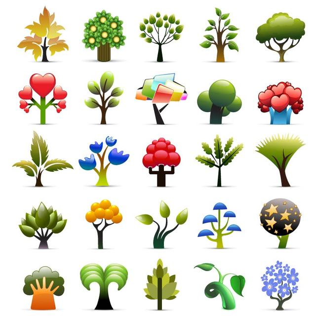 Free Beautiful Seasonal Tree Icon Collection