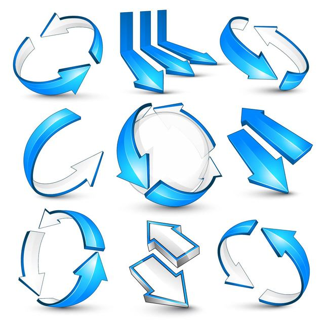 Free Glossy Blue 3D Arrow Pack