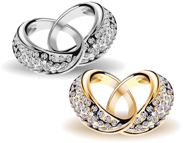 Free Interlocked Beautiful Gold & Diamond Wedding Rings