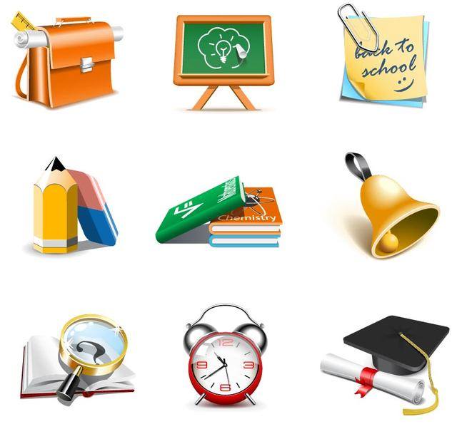 Free School Theme 3D Icon Set