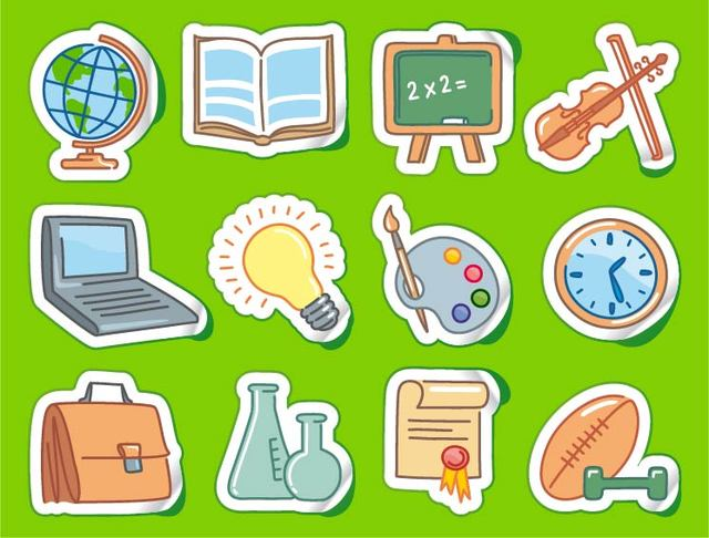 Free Sticker Set with Funky School Themed Icon