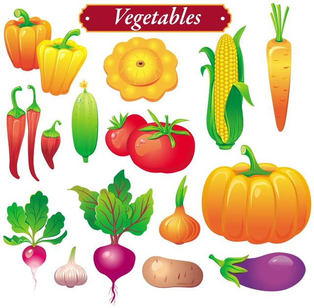 Free Bright Colored Vegetable Set