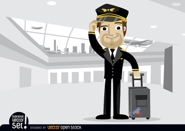 Free Airplane pilot with baggage in airport