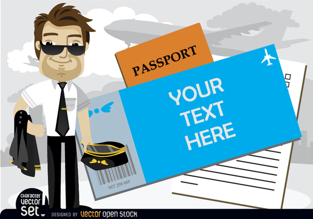 Free Airplane pilot beside text in passport