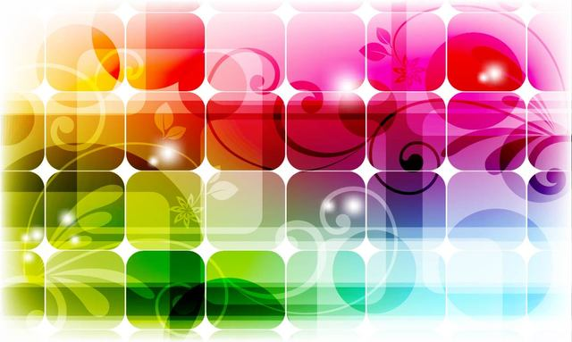 Fluorescent Colorful Squares Background with Swirls