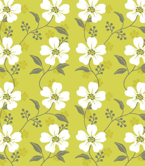 Free Seamless Wildflower Pattern with White Leaves
