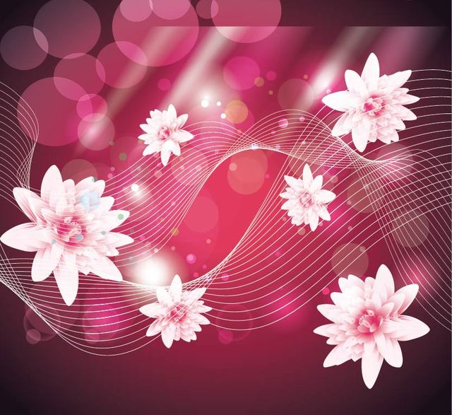 Free Abstract Pink Background with Lotus and Lines