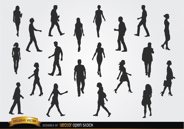 Free Walking people silhouettes set