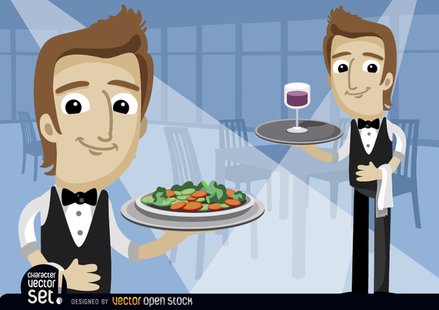 Free Waiters with salad saucer and wineglass