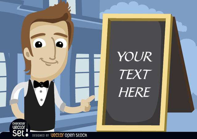 Free Waiter pointing menu board text