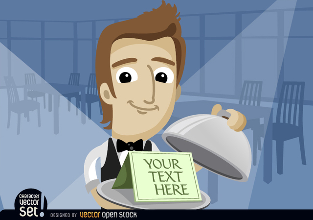 Free Waiter showing text in tray with lid