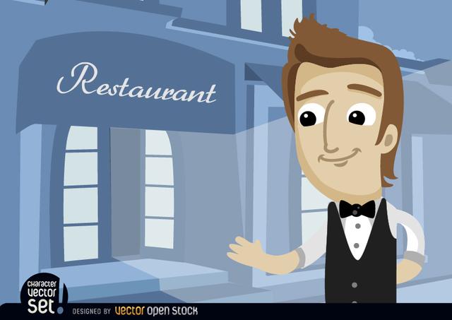 Free Waiter in restaurant entrance