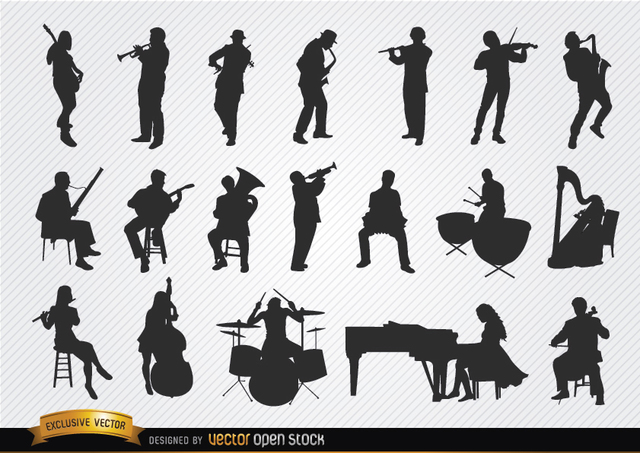 Free Vectors: Musicians silhouettes set | Vector Open Stock