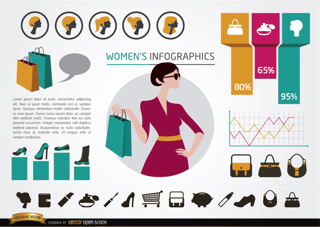 Free Women's fashion infographics elements